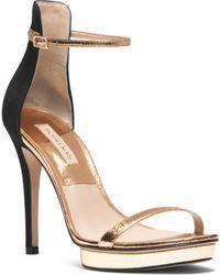 Michael Kors Doris Metallic Leather and Suede Sandal - Lyst