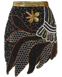 Rodarte Silver And Gold Hand Beaded Skirt - Lyst