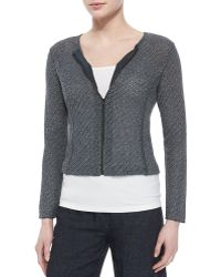 Eileen Fisher Cropped Jacquard Zip-Front Jacket - Lyst