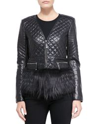 J. Mendel Quilted Leather Fox Fur Jacket - Lyst