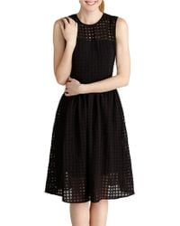 Donna Morgan Jacquard Check A-Line Dress - Lyst