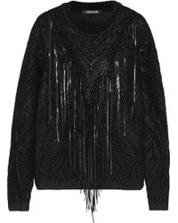 Roberto Cavalli Leather-fringed Knitted Coated Cotton-blend Sweater - Lyst