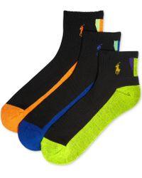 Polo Ralph Lauren Mens Athletic Polo Tech Quarter Socks 3-pack - Lyst