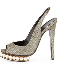 Nicholas Kirkwood Casati Metallic Pearly Peep-Toe Slingback Pump - Lyst