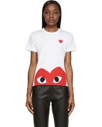 Play Comme des Garçons Red And White Half Heart T_Shirt - Lyst