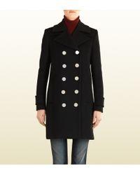 Gucci Black Wool Coat - Lyst