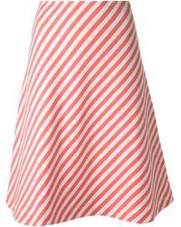 Peter Jensen Striped A-Line Skirt - Lyst