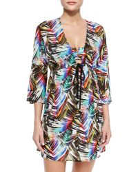Milly Ava Palm-Print Tunic Coverup - Lyst