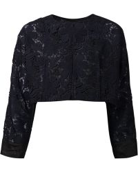 Nina Ricci Floral Embroidered Cropped Jacket - Lyst