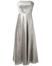 Cedric Charlier Silver Bustier Lamé Dress silver - Lyst
