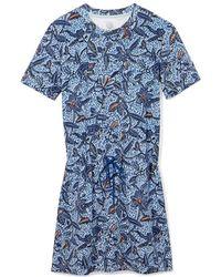 Tory Burch Drawstring Waist T-Shirt Dress blue - Lyst