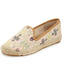 Tory Burch Biarritz Printed Canvas Espadrille Flat - Lyst