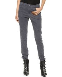 Tess Giberson Pieced Skinny Jeans Grey Denim - Lyst