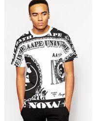 Aape - By A Bathing Ape T-Shirt With Dollar Bill Print - Lyst