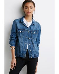 Forever 21 Distressed Denim Jacket - Lyst