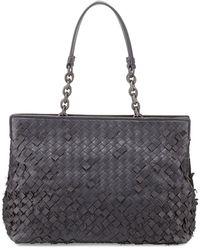Bottega Veneta Woven Double Compartment Shoulder Bag - Lyst