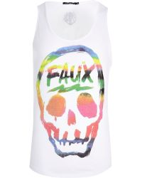 River Island White Friend Or Faux Skull Print Vest - Lyst