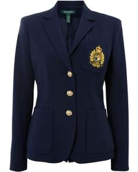 Lauren by Ralph Lauren Della Navy Blazer with Crest - Lyst