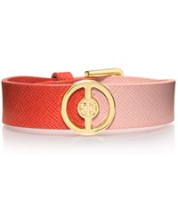 Tory Burch - Deco Logo Two Tone Leather Bracelet - Lyst