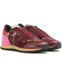 Valentino Rockrunner Lace And Suede Sneakers - Lyst