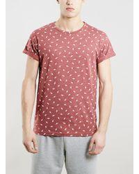 Topman Red Marl Roller Fit Bolts Print T-Shirt - Lyst