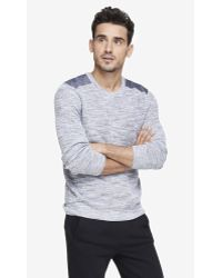 Express Chambray Yoke Crew Neck Sweater - Lyst