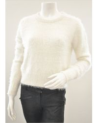 Sen Collection Quinn Fuzzy Crew Neck Sweater In Off-White - Lyst
