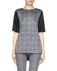 St. John Satin Combo Metallic Plaid Knit Top - Lyst