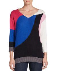 Adrienne Vittadini Colorblocked Intarsia Sweater - Lyst