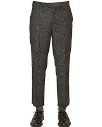 Emporio Armani 18Cm Wool Astrakhan Jacquard Trousers - Lyst
