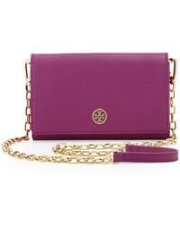Tory Burch Robinson Wallet On A Chain Royal Fuchsia - Lyst