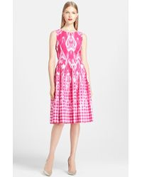 Oscar de la Renta Ikat Print Poplin Dress - Lyst