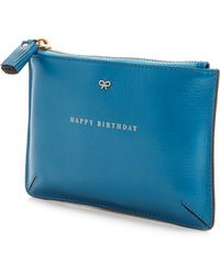 Anya Hindmarch Loose Pocket Birthday Pouch Cobalt - Lyst