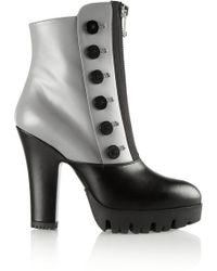 Miu Miu Button-embellished Leather Platform Ankle Boots - Lyst