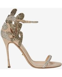 Sergio Rossi Matisse Crystal Embellished Suede Stiletto Sandal - Lyst