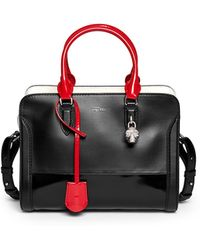 Alexander McQueen 'Padlock' Small Colourblock Leather Tote black - Lyst
