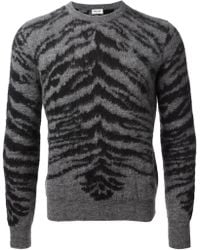 Saint Laurent Tiger Knit Sweater gray - Lyst