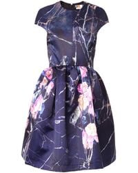 MSGM Floralprint Duchesssatin Dress - Lyst