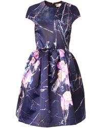 MSGM Floral-print Duchess-satin Dress - Lyst