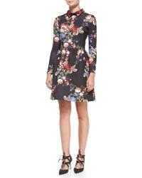 Erin Erin Fetherston Long-sleeve Floral-print Cocktail Dress Black Multi 0 - Lyst