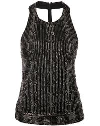 Alice + Olivia Black Sequined Top - Lyst