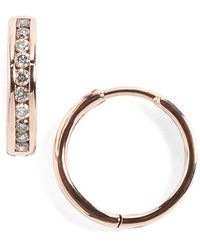 Anna Sheffield - 'licol' Tiny Champagne Diamond Hoop Earrings - Lyst