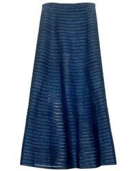 Cynthia Rowley Denim Mesh Inset Skirt - Lyst