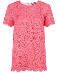 DKNY Short Sleeve Lace Top - Lyst