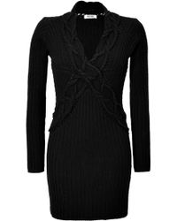 Moschino Cheap & Chic Cable Knit Sweater Dress - Lyst