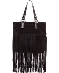 Michael Kors Collection Joni Large Fringe Tote Black - Lyst