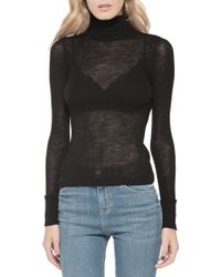 T By Alexander Wang Sheer Turtleneck Sweater black - Lyst