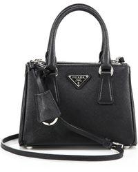 Prada   Mini Saffiano Leather Double-zip Tote   Lyst