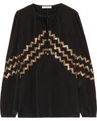 Altuzarra Torrin Sequin-embellished Silk Crepe De Chine Blouse - Lyst