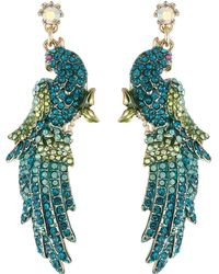 Betsey Johnson | Critters Pave Bird Drop Earrings | Lyst